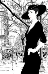 Photo on textile frame Illustration Paris illustration of an elegant lady in Paris