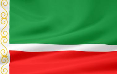 Flagge der russischen Republik Tschetschenien