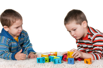 Brothers playing blocks on the carpet