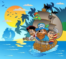 Foto op Plexiglas Piraten Three pirates in boat near island
