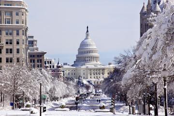 US Capital Pennsylvania Avenue After Snow Washington DC