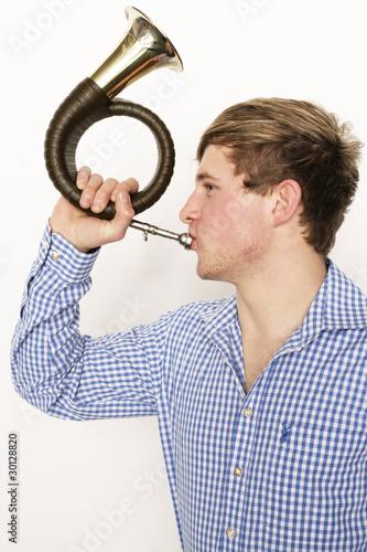 Konfuses krummes Horn mit Foto