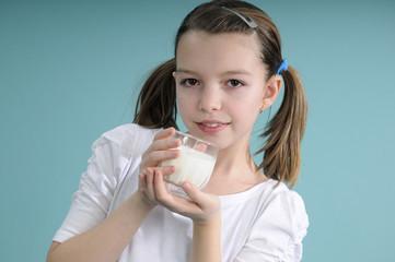 schoolgirl drinking milk