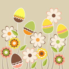 Stylized growing easter eggs on beige background
