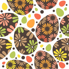 Seamless spring pattern with floral easter eggs