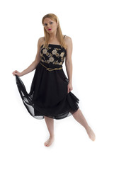 Isolated blonde female in long dress