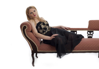 Pretty young blonde female relaxing