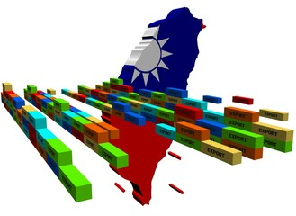 Taiwan map with stacks of export containers illustration