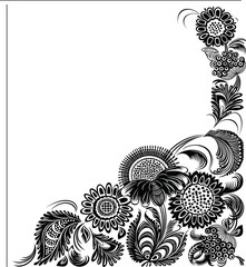 Decor floral background. Black and white style