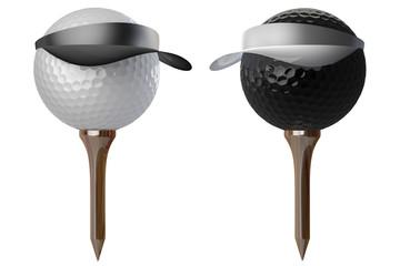 3d golf balls wearing caps
