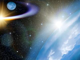 Sky  stars  Earth  comet