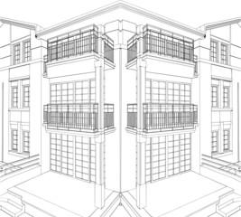 Modern Building Corner Residential House Vector 09