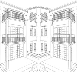 Modern Building Corner Residential House Vector 08