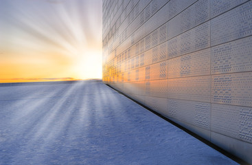 Fragment of the National opera in Oslo in sunset rays