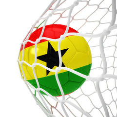 Ghanaian soccer ball inside the net