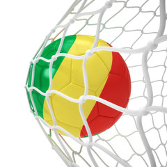 Congo soccer ball inside the net