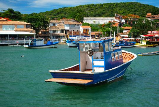 Boats over the sea in Buzios,Rio de janeiro, Brazil