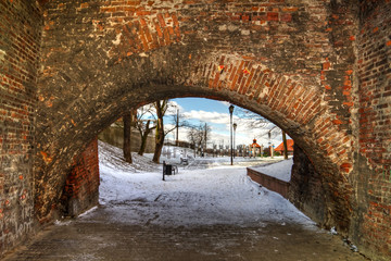 Winter bridge arch in Poland - HDR
