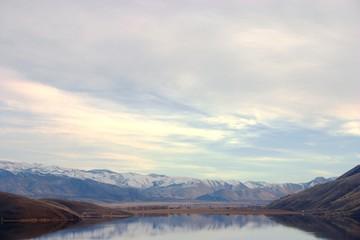 Mountain vista reflected off of lake topaz