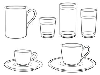 Tassen, Gläser, Becher
