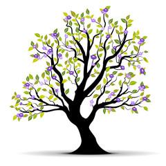 vecteur série - arbre à fleurs vectoriel feuillage vert blanc