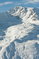 Mountains under snow in the winter.  Ski resort  Obergurgl. Aust