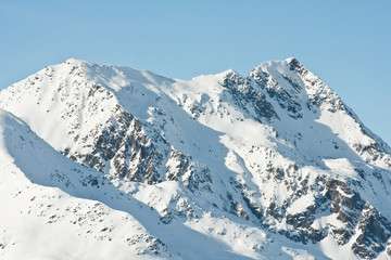 Mountains under snow in the winter.  Ski resort  Obergurgl. Aust