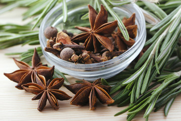 Bunch of rosemary and anise stars