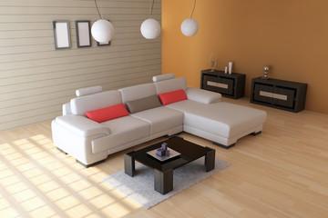 The 3d rendering indoor sitting room