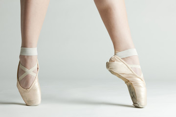 detail of ballet dancer''s feet