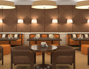 Interior of restaurant.