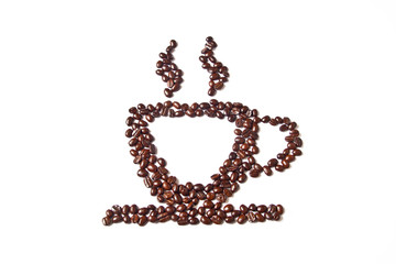 Cup of coffee from coffee beans on white background