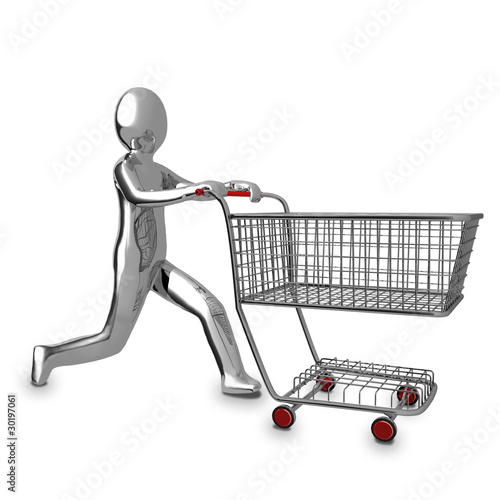 3d business chrome man human shopping cart icon stock photo and