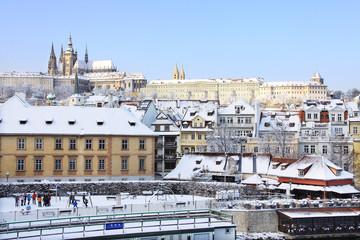 Romantic Snowy Prague gothic Castle, Czech Republic