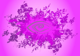 Abstract floral background with eye