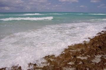 The coast of a Caribbean island in the Atlantic ocean