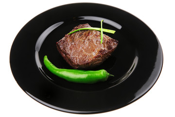 meat savory : grilled beef fillet mignon on black plate
