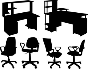 office chairs and tables isolated on white
