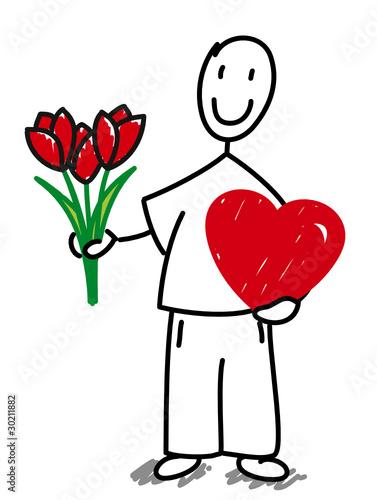 Homme amoureux offrant des fleurs fichier vectoriel for Bouquet de fleurs homme