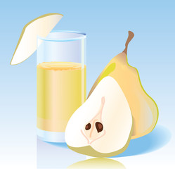 Fresh pear and fresh pear juice in a glass