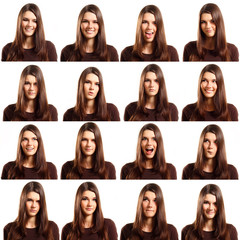 teenager girl grimacing set isolated on white