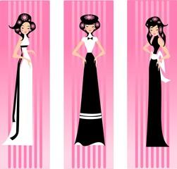 trzy różowe damy.
