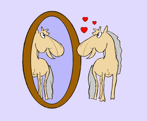 illustration foal in mirror