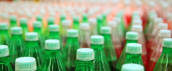 colorful juice beverage plastic bottle in factory