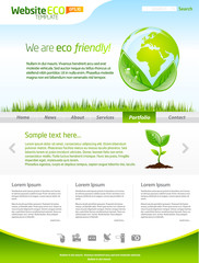 Green eco web template layout