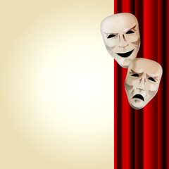 Comedy and Tragedy Masks With Courtain