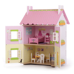 maison de poupée ouverte de trois quart