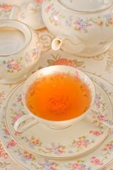 Tea cup, tea pot and sugar bowl