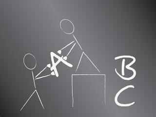 Strichmännchen stapeln das ABC
