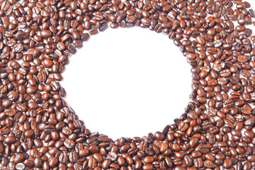 The white circle in many brown coffee beans for background